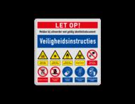 Veiligheidsbord met instructies | 4 regels / 10 symbolen