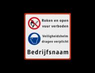 Veiligheidsbord 2x picto + bedrijfsnaam