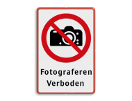 Veiligheidspictogram - Fotograferen verboden - P029 + Eigen tekst