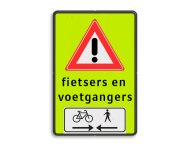 Verkeersbord RVV J37 FLUOR voetgangers + fiets 2 txt