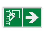 Vluchtroute bordje E016 - Vluchtraam met brandladder + Pijl Rechts