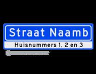Straatnaambord 12 karakters 700x200 mm + huisnummers NEN 1772