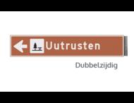 Bewegwijzeringsbord - DUBBELZIJDIG - 800x150x15mm bruin/wit 1 regelig en pijl