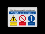 Veiligheidsbord met instructies | 2 regels / 3 symbolen