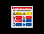 Veiligheidsbord met instructies | 2 regels / 8 symbolen liggend