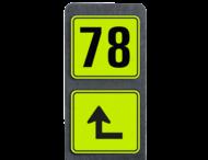 Huisnummerpaal met BORD Fluor Modern met picto - klasse 3