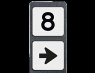Huisnummerpaal met BORD NEN1772 - met pijl - klasse 3