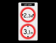 Verkeersbord RVV C18-C19 - Gesloten voor te hoge en te brede voertuigen