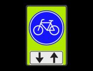 Verkeersbord RVV G11 - OB505 - Verplicht fietspad met tegenliggers - fluor achtergrond