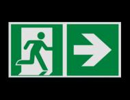 Pictogram E002 - Nooduitgang rechts met pijl