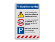 Veiligheidsbord | 3 banners + 3 symbolen met tekst