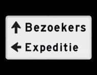 Routebord 2 regelig + pijl links - eigen tekst