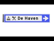 Bewegwijzeringsbord - ENKELZIJDIG RECHTS - 800x150x15mm blauw/wit 1 regelig en pijl