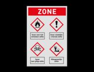 Veiligheidsbord | Koptekst met 4 symbolen