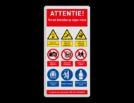 Veiligheidsbord met instructies | 5 regels / 9 symbolen