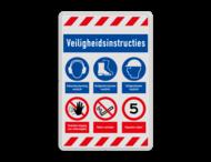 Veiligheidsbord | 5 banners + 6 symbolen met tekst
