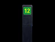 Huisnummerpaal zwart recycling + 1x huisnummer geel/groen - reflecterend klasse 3
