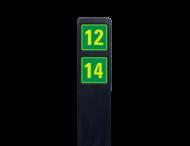 Huisnummerpaal zwart recycling + 2 huisnummers onder elkaar - geel/groen - reflecterend klasse 3