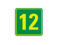 Huisnummerbord (LOS)  geel-groen/groen - reflecterend klasse 3