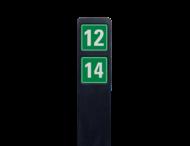 Huisnummerpaal zwart recycling + 2 huisnummers onder elkaar - groen/wit
