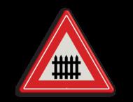 Verkeersbord RVV J10 - Vooraanduiding overweg met slagbomen