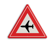 Verkeersbord RVV J30 - Vooraanduiding laagvliegende vliegtuigen