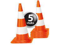 Afzetkegel/pylon 750mm - set van 5 stuks - oranje/wit