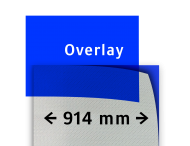 Transparant overlay blauw 914mm breed