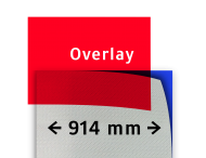 Transparant overlay rood 914mm breed