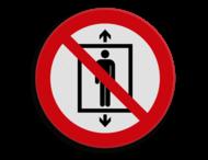Veiligheidspictogram - Verboden deze lift te gebruiken voor personen - P027