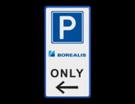 Parkeerbord Eigen terrein E04 3txt + 2 kleuren logo