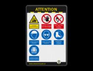 Veiligheidsbord - ATTENTION - PBM pictogrammen