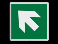 Veiligheidspictogram - Vluchtroute - te volgen richting - Pijl links-omhoog