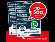 WhatsApp Buurtpreventie SET - 10 borden gepersonaliseerd - L209wa - logo