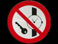 Pictogram P008 - Metalen voorwerpen zoals horloges verboden