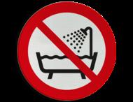 Pictogram P026 - Verboden om dit product onder douche of in bad te gebruiken