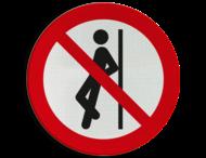 Pictogram P041 - Tegenaan leunen verboden