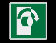 Veiligheidspictogram - Draai met de klok mee om te openen - E019