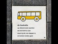 Dick Bruna Stoeptegel - bushalte - 300x300mm