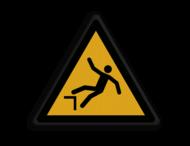 Veiligheidspictogram - Pas Op! Val gevaar - W008