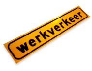 Sticker 500x100mm geel fluorescerend 'WERKVERKEER'
