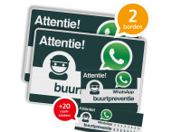 WhatsApp Buurtpreventie SET - 2 borden + 20 stickers - L209wa