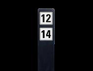 Huisnummerpaal zwart recycling + 2 huisnummers onder elkaar - wit/zwart - reflecterend klasse 3