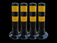 Aanrijdbeveiliging zwart/geel - kunststof flexpalen Ø80mm