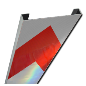Schrikhekplank 2000mm lang C-profiel pijlmotief. RVV BB18-1