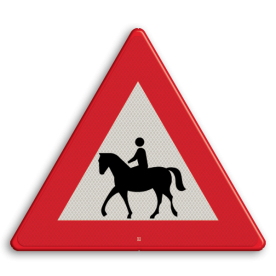 Verkeersbord RVV J27_ruiter - Vooraanduiding oversteken ruiters