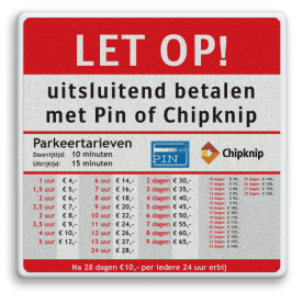 Informatiebord 600x600mm full-colour Parkeertarieven