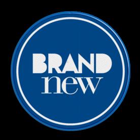 Logobord blauw/wit ROND