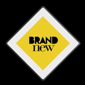Logobord wit/geel/zwart VIERKANT