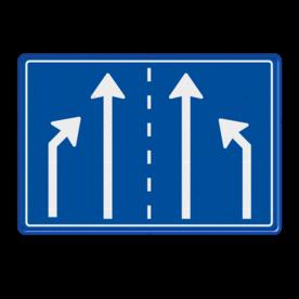 Verkeersbord RVV L05 - 1180x800mm - 4 pijlen